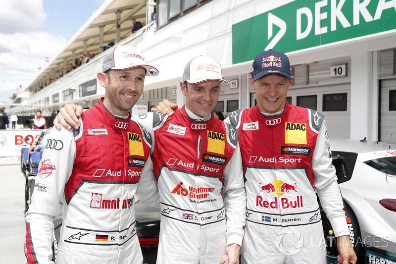 Топ-3 в кваліфікації; перший Рене Раст, Audi Sport Team Rosberg, Audi RS 5 DTM, другий Джеймі Грін, Audi Sport Team Rosberg, Audi RS 5 DTM, тертій Маттіас Екстрьом Audi Sport Team Abt Sportsline, Audi A5 DTM
