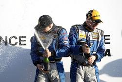 Podium: Race winner #12 Bodymotion Racing Porsche Cayman GT4: Cameron Cassels, Trent Hindman