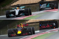 Red Bull Racing RB13 and Mercedes AMG F1 W08 front wing comparison
