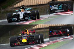 Red Bull Racing RB13 en Mercedes AMG F1 W08 vergelijking voorvleugels