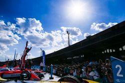 Felix Rosenqvist, Mahindra Racing, celebrates in Parc Ferme after winning the race