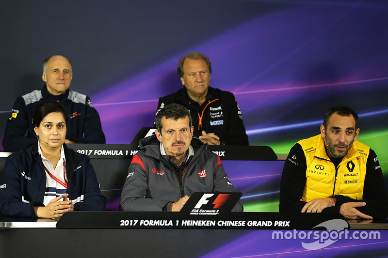 Franz Tost, Scuderia Toro Rosso Team Principal, Robert Fearnley, Force India F1 Team Deputy Team Principal, Monisha Kaltenborn, Sauber Team Prinicpal, Guenther Steiner, Haas F1 Team Principal and Cyril Abitebou, Renault Sport F1 Managing Director in the Press Conference