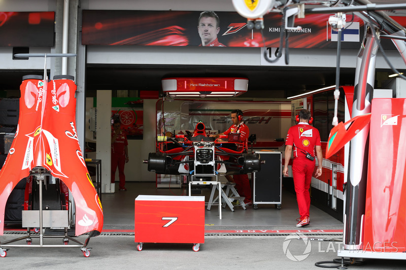 ferrari sf70h in the garage at azerbaijan gp