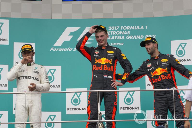 Подиум: победитель Макс Ферстаппен, Red Bull Racing, второе место – Льюис Хэмилтон, Mercedes AMG F1, третье место – Даниэль Риккардо, Red Bull Racing