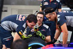 I meccanici Toro Rosso provano un pitstop
