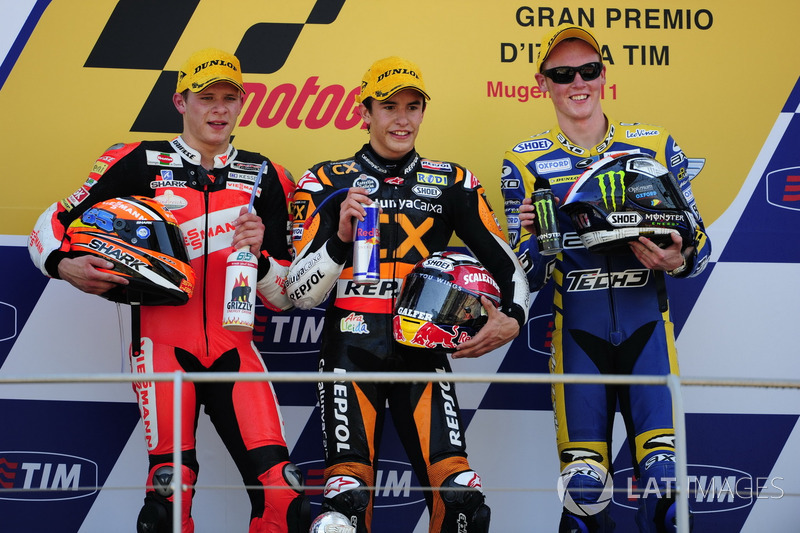 Podium: 1. Marc Márquez, 2. Stefan Bradl, 3. Bradley Smith