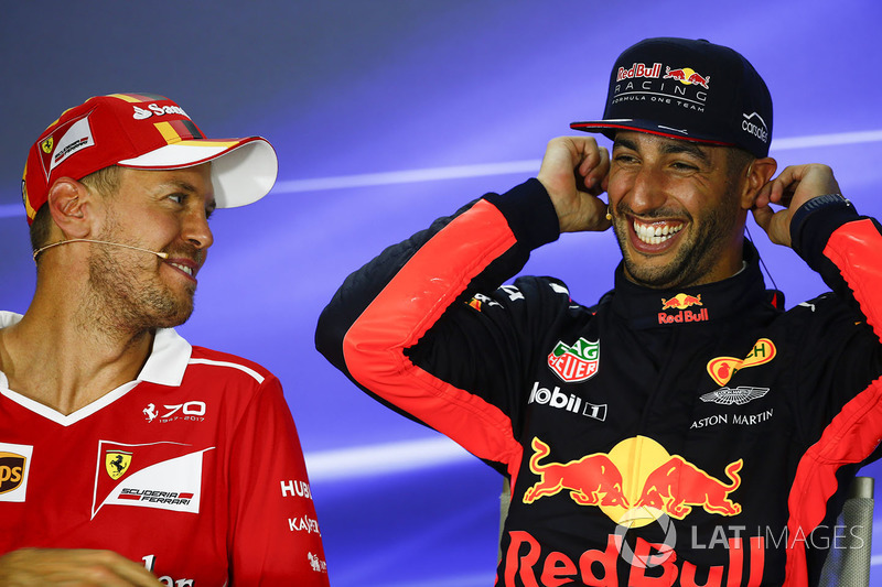 Press conference: pole sitter Sebastian Vettel, Ferrari, third place Daniel Ricciardo, Red Bull Racing