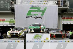 Car podium: Race winner #29 Audi Sport Team Land-Motorsport, Audi R8 LMS: Christopher Mies, Connor D
