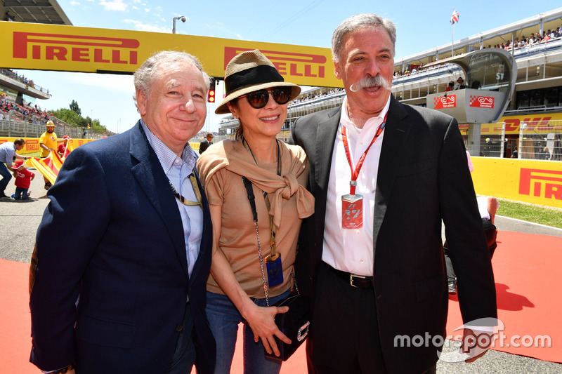 Jean Todt, FIA President and wife Michelle Yeoh, Chase Carey, Chief Executive Officer and Executive Chairman of the Formula One Group