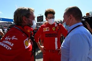 Mattia Binotto, Team Principal, Ferrari, with Jos Verstappen
