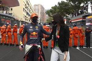 Max Verstappen, Red Bull Racing, 1st position, celebrates with his girlfriend Kelly Piquet