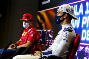 Pierre Gasly, AlphaTauri and Charles Leclerc, Ferrari in the Press Conference