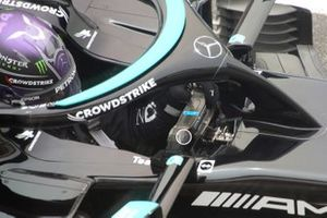 Lewis Hamilton, Mercedes W12 steering wheel protected button detail