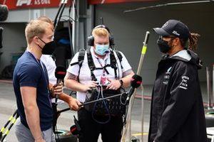 Billy Monger, TV presenter, interviews Lewis Hamilton, Mercedes W12