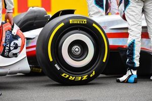 The 2022 Formula 1 car launch event on the Silverstone grid. Front wheel detail