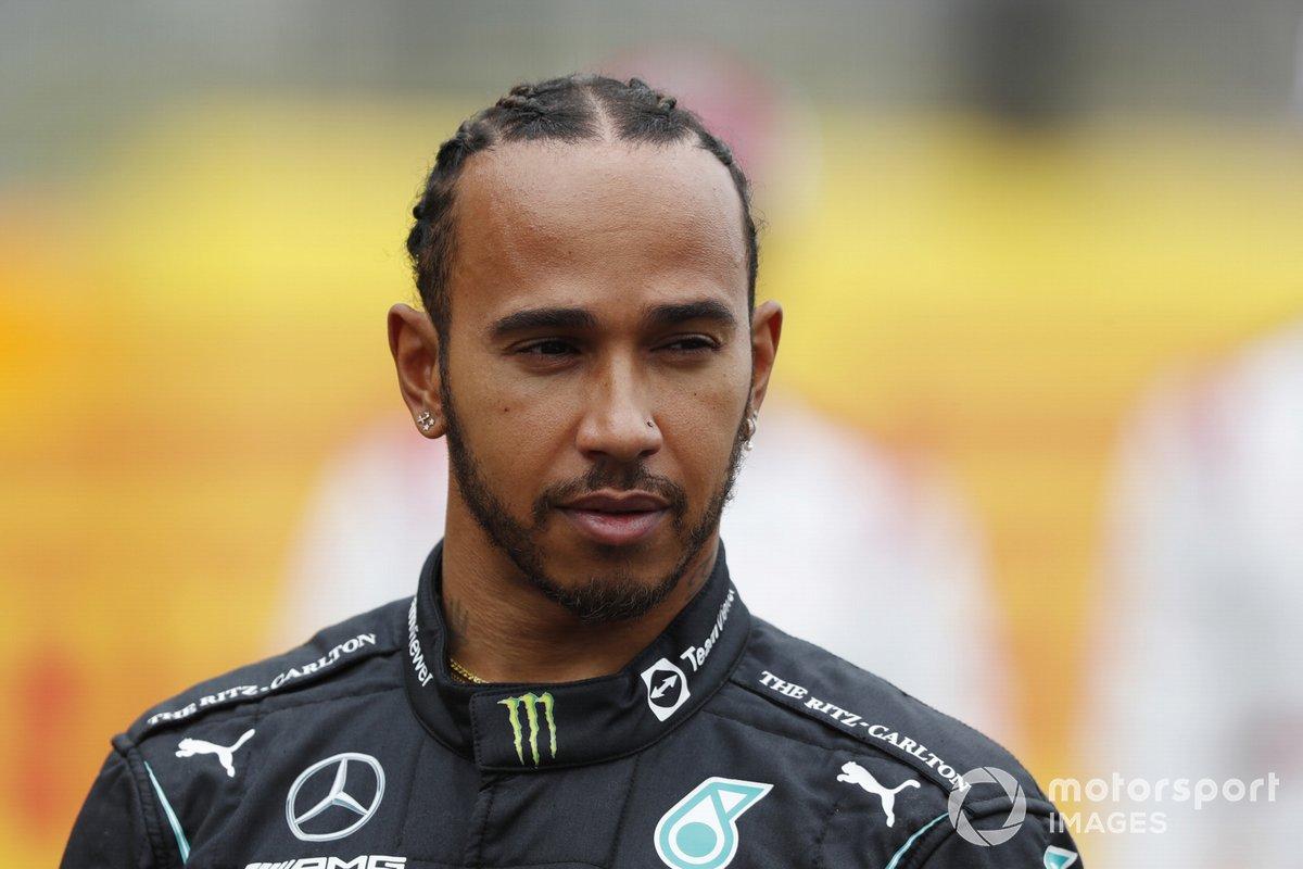 Lewis Hamilton, Mercedes, antes de la presentación del coche de Fórmula 1 de 2022