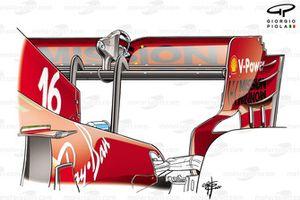 Ferrari SF21 rear wing qualification and race, Azerbaijan Grand Prix