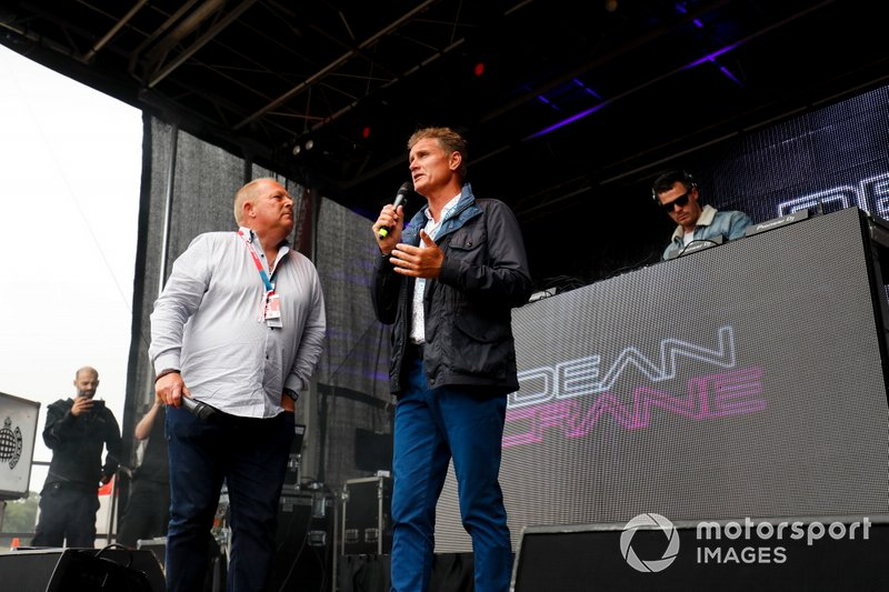 David Coulthard on stage at the Driver autograph signing session