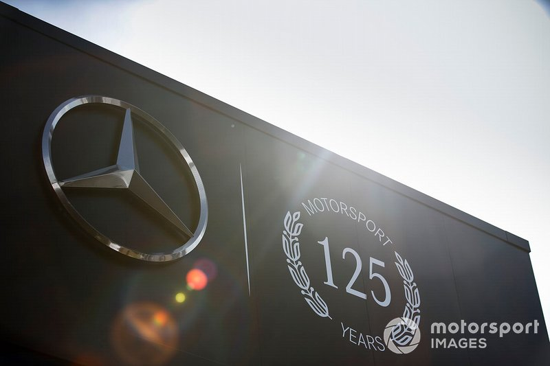Mercedes AMG F1 125 years in Motorsport logo on their motorhome