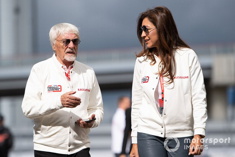 Bernie Ecclestone, Chairman Emiritus of Formula 1, with his wife Fabiana