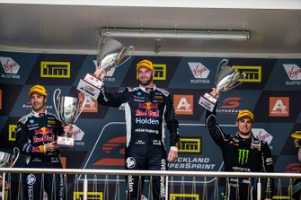 Race winner Shane van Gisbergen, Triple Eight Race Engineering Holden, second place Jamie Whincup, Triple Eight Race Engineering Holden, third place, Cameron Waters, Tickford Racing Ford