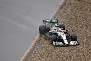 Lewis Hamilton, Mercedes AMG F1 W10, heads into the gravel