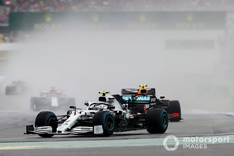 Valtteri Bottas, Mercedes AMG W10, leads Pierre Gasly, Red Bull Racing RB15