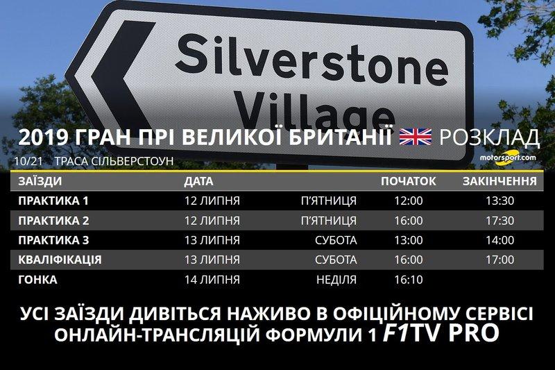 Розклад Гран Прі Великої Британії 2019 року