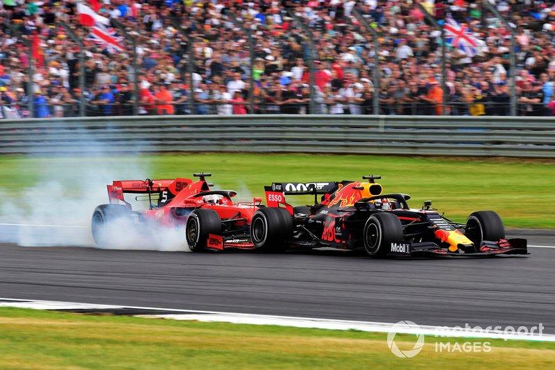 Sebastian Vettel, Ferrari SF90 tampona Max Verstappen, Red Bull Racing RB15