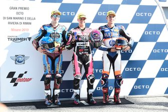 Pole sitter Fabio Di Giannantonio, Speed Up Racing, second place Alex Marquez, Marc VDS Racing, third place Augusto Augusto Fernandez, Pons HP40