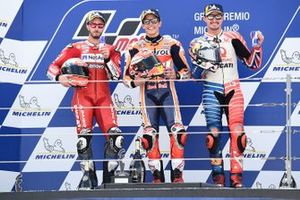 Podium: race winnaar Marc Marquez, Repsol Honda Team, tweede Andrea Dovizioso, Ducati Team, derde Jack Miller, Pramac Racing
