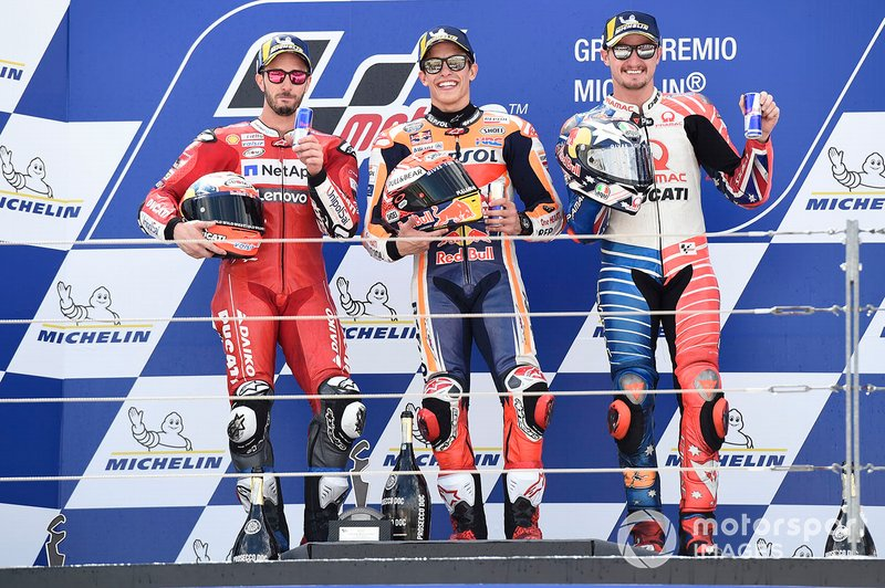 #52 Marc Marquez, Repsol Honda Team, second place Andrea Dovizioso, Ducati Team, third place Jack Miller, Pramac Racing