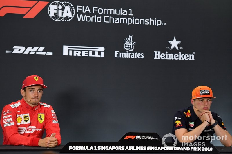 Charles Leclerc, Ferrari, 2nd position, and Max Verstappen, Red Bull Racing, 3rd position, in the Press Conference