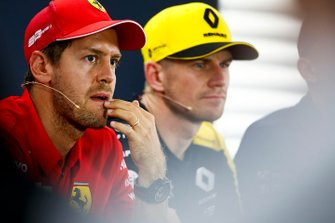 Sebastian Vettel, Ferrari and Nico Hulkenberg, Renault F1 Team in the Press Conference