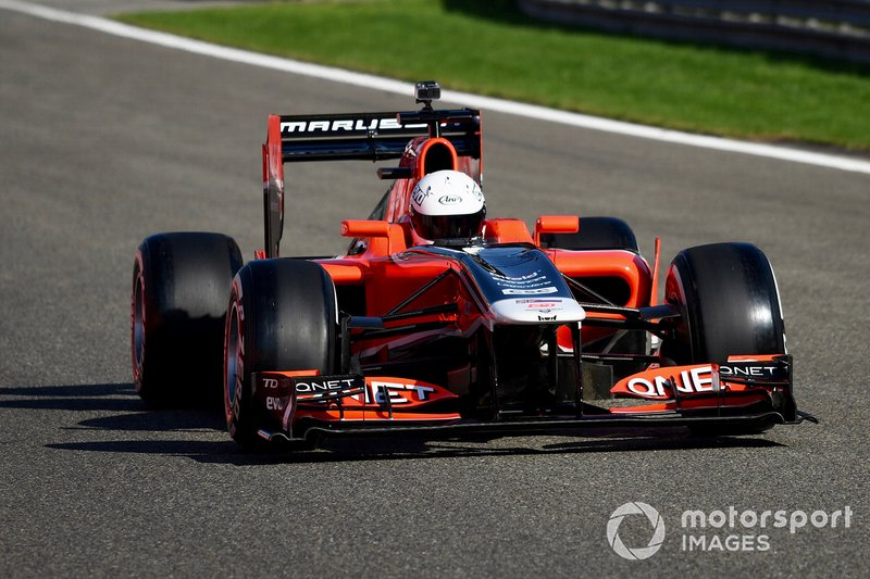 A Marussia F1 car is driven on a demonstration run