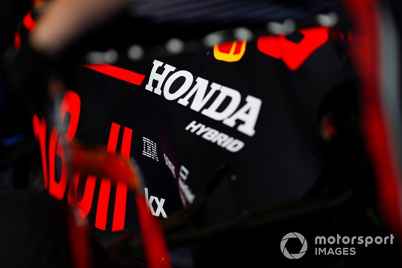 A Honda logo on a Red Bull engine cover