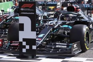 Lewis Hamilton, Mercedes F1 W11, parks in Parc Ferme after securing pole