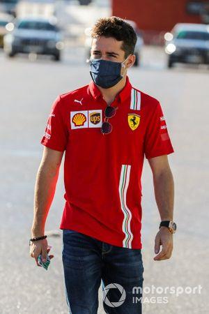 Charles Leclerc, Ferrari, arrives at the track