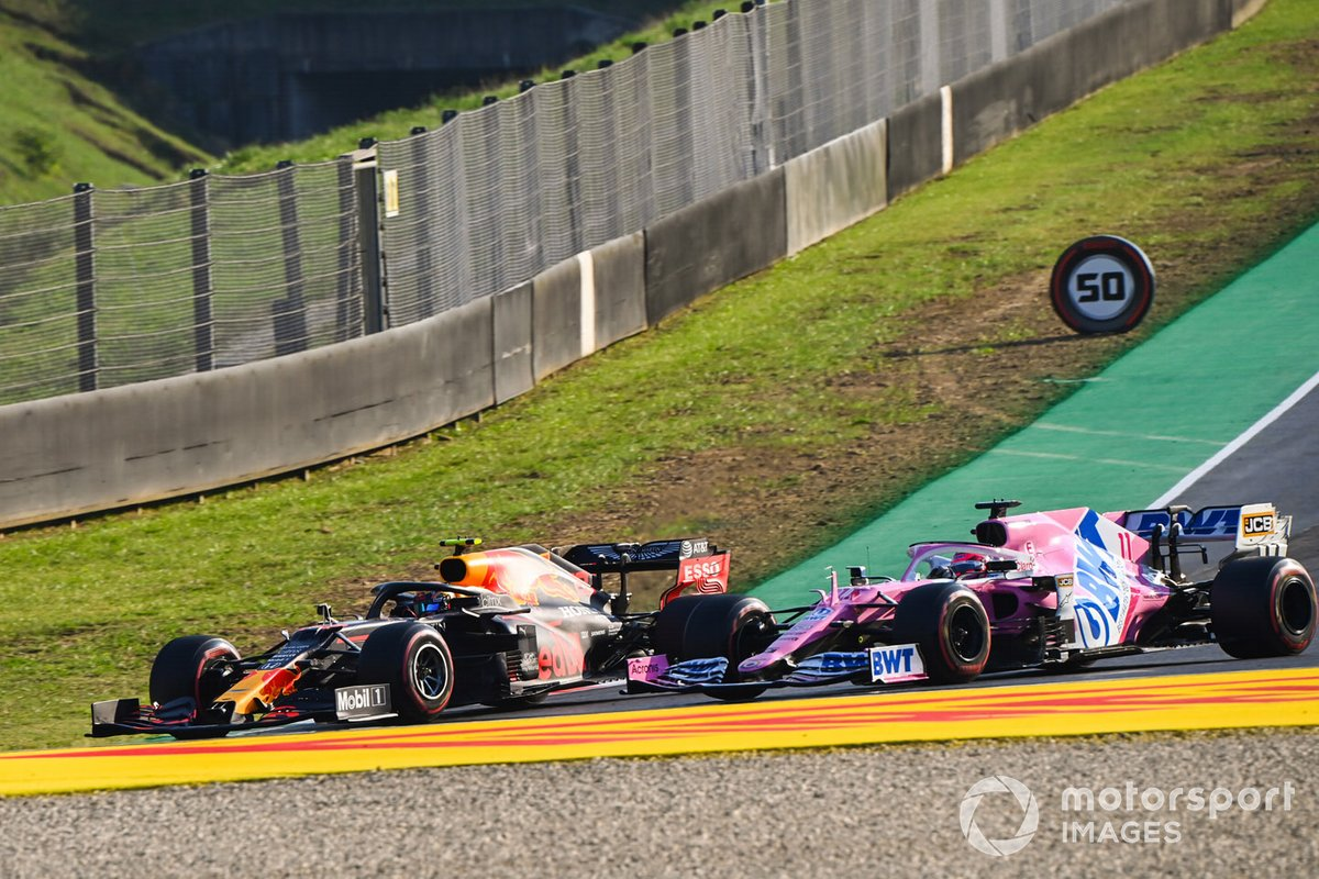 Alex Albon, Red Bull Racing RB16, battles with Sergio Perez, Racing Point RP20