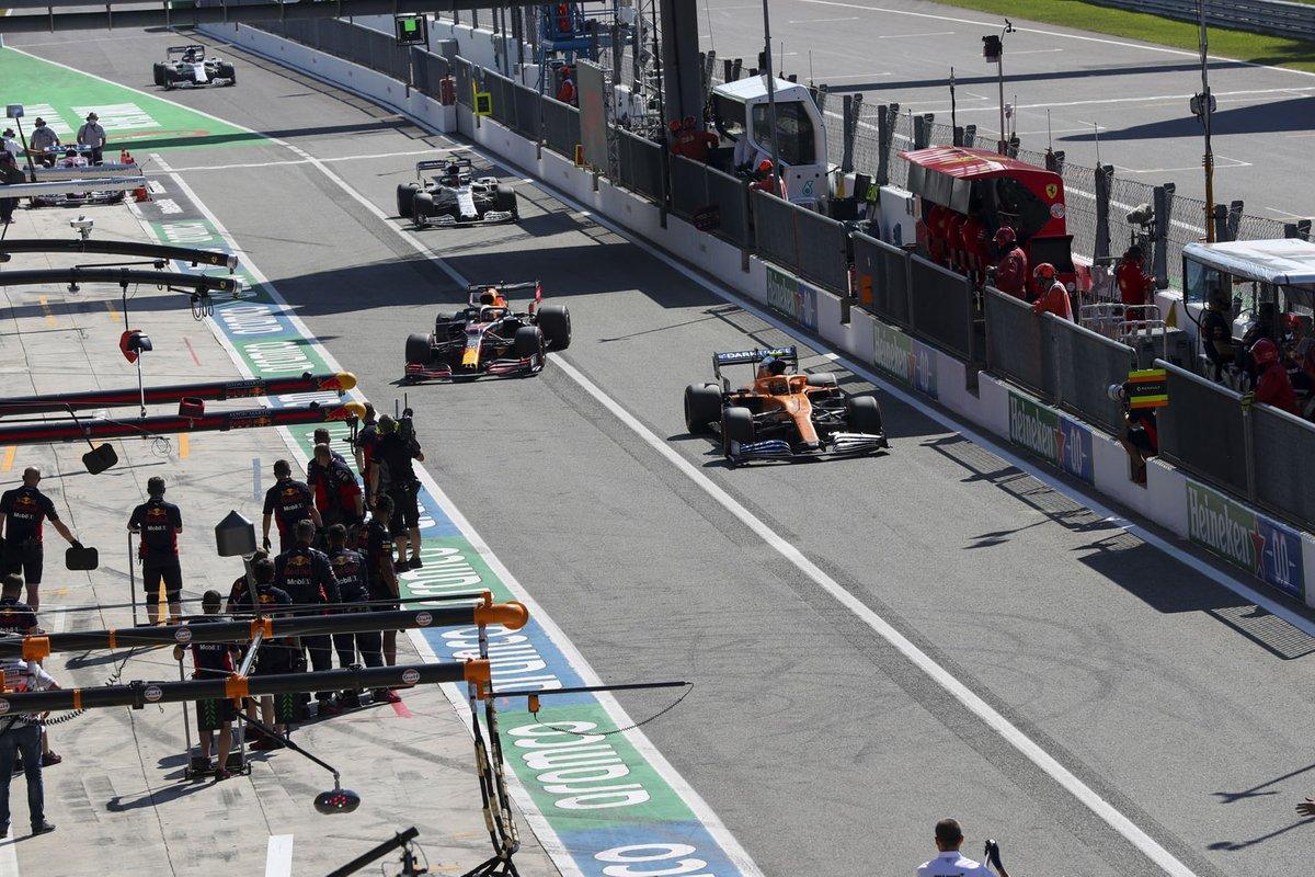 Lando Norris, McLaren MCL35, Max Verstappen, Red Bull Racing RB16, Pierre Gasly, AlphaTauri AT01, Daniil Kvyat, AlphaTauri AT01