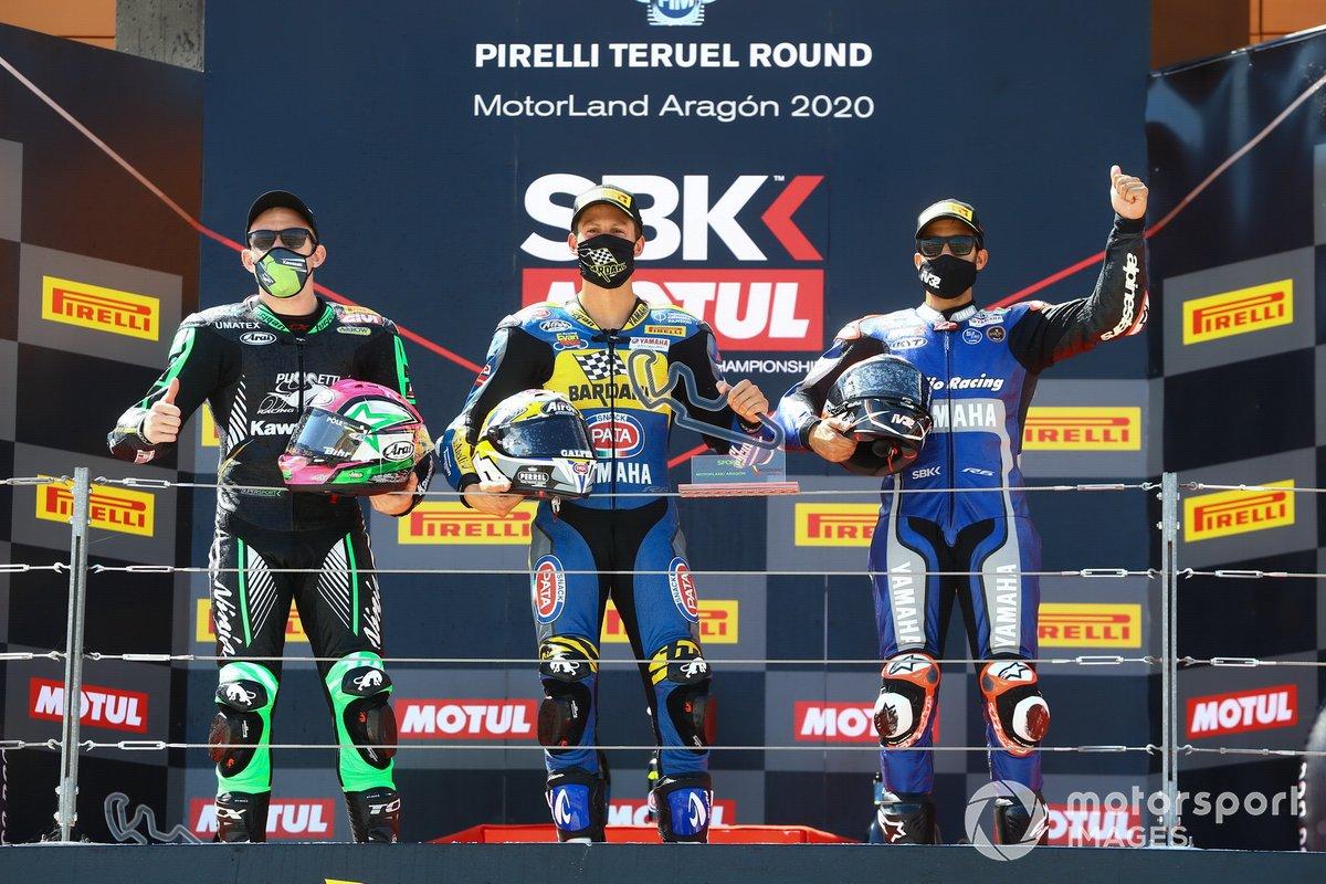 Podio: Lucas Mahias, Kawasaki Puccetti Racing, Andrea Locatelli, BARDAHL Evan Bros. WorldSSP Team, Isaac Vinales, Kallio Racing