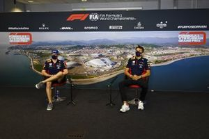 Max Verstappen, Red Bull Racing and Alex Albon, Red Bull Racing in the press conference