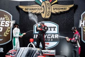 Will Power, Team Penske Chevrolet, podium, champagne, Colton Herta, Andretti Harding Steinbrenner Autosport Honda, Alexander Rossi, Andretti Autosport Honda
