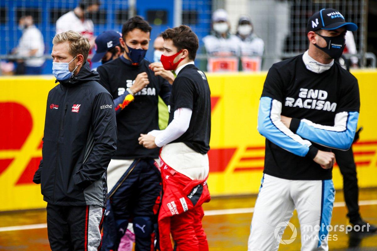 Kevin Magnussen, Haas F1, Alex Albon, Red Bull Racing, Charles Leclerc, Ferrari, y Nicholas Latifi, Williams FW43