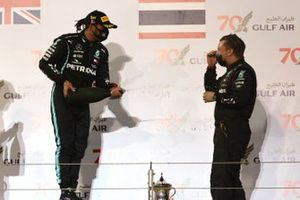 Lewis Hamilton, Mercedes-AMG F1 , 1st position, celebates with his team mate on the podium