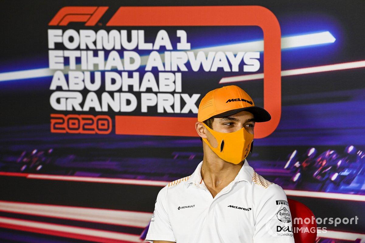 Lando Norris, McLaren, en rueda de prensa