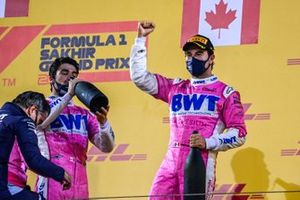 Andy Stevenson, Sporting Director, Racing Point, Lance Stroll, Racing Point, 3rd position, and Sergio Perez, Racing Point, 1st position, on the podium