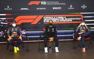 Sergio Perez, Red Bull Racing, pole man Lewis Hamilton, Mercedes, and Max Verstappen, Red Bull Racing, in the post Qualifying Press Conference