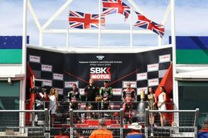 Race winner Alex Lowes, Kawasaki Racing Team, second place Jonathan Rea, Kawasaki Racing Team, third place Scott Redding, Aruba.it Racing Ducati