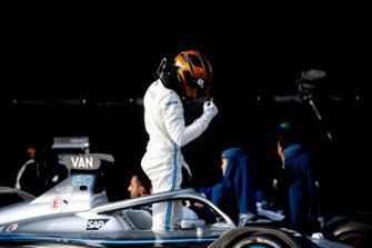 Stoffel Vandoorne, Mercedes Benz EQ climbs out of his car on the podium